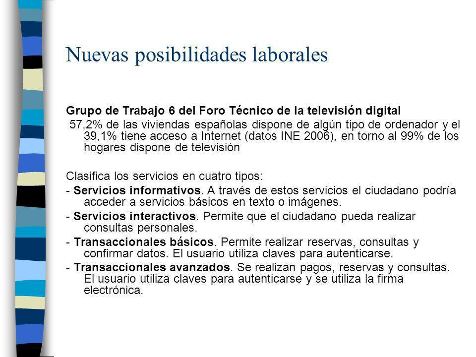 Nuevas posibilidades laborales Grupo de Trabajo 6 del Foro Técnico de la televisión digital 57,2% de las viviendas españolas dispone de algún tipo de