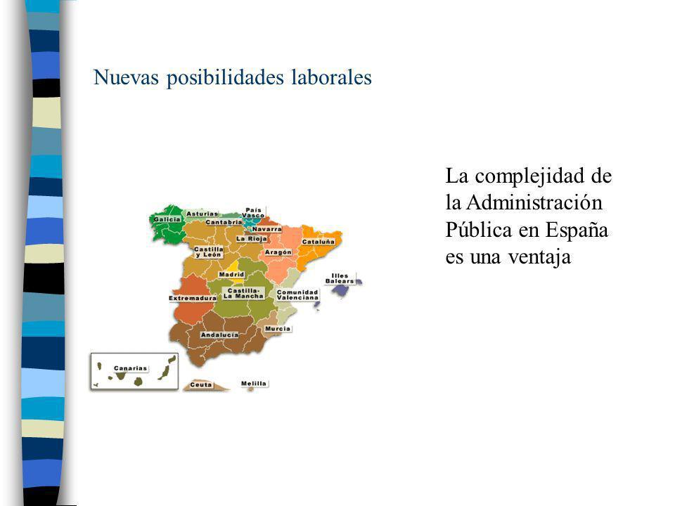 Nuevas posibilidades laborales AGE 16 Ministerios 139 Organismos autónomos CCAA 17 Comunidades Autónomas 2 Ciudades autónomas Admin.