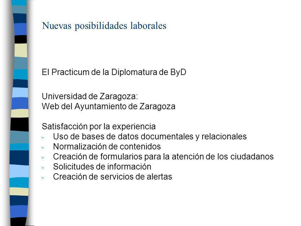 Nuevas posibilidades laborales El Practicum de la Diplomatura de ByD Universidad de Zaragoza: Web del Ayuntamiento de Zaragoza Satisfacción por la exp