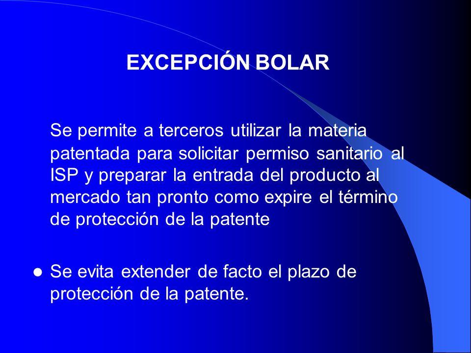 Se permite a terceros utilizar la materia patentada para solicitar permiso sanitario al ISP y preparar la entrada del producto al mercado tan pronto c