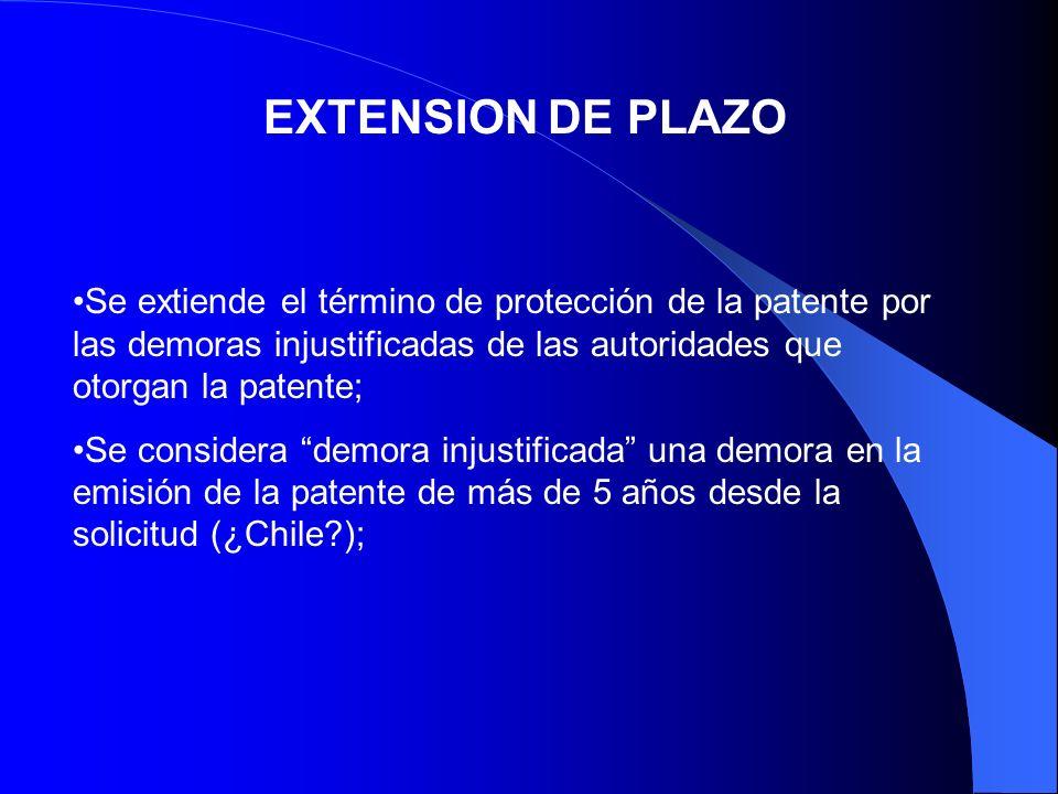 EXTENSION DE PLAZO Se extiende el término de protección de la patente por las demoras injustificadas de las autoridades que otorgan la patente; Se con