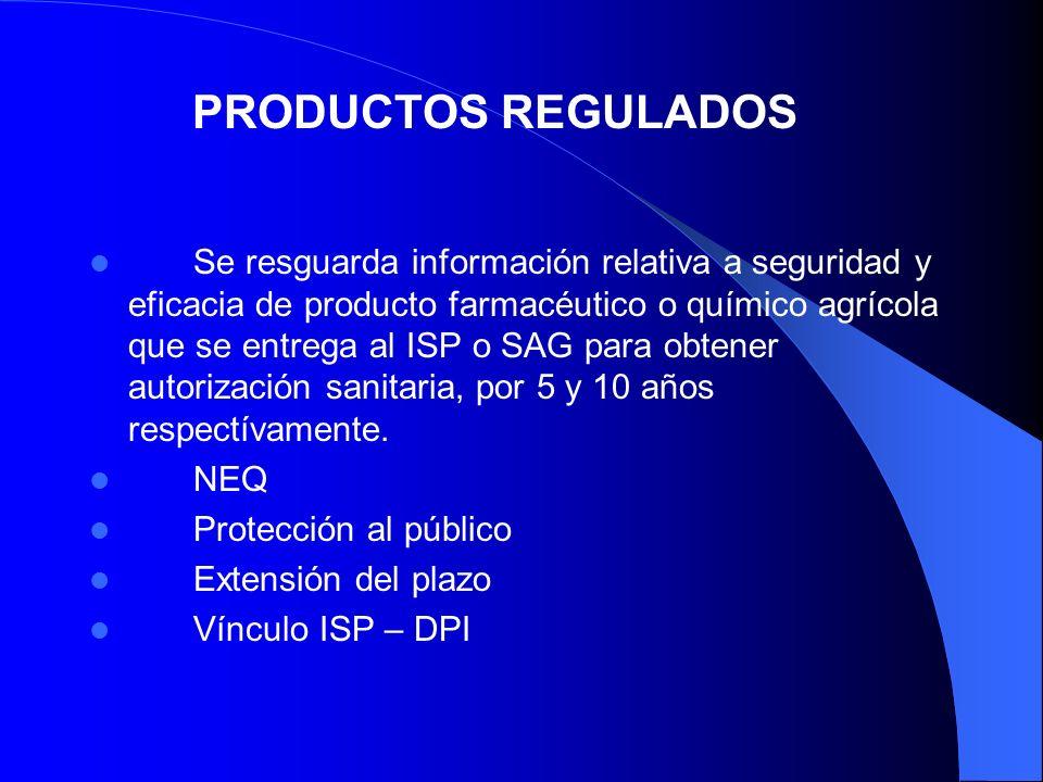 Se resguarda información relativa a seguridad y eficacia de producto farmacéutico o químico agrícola que se entrega al ISP o SAG para obtener autoriza