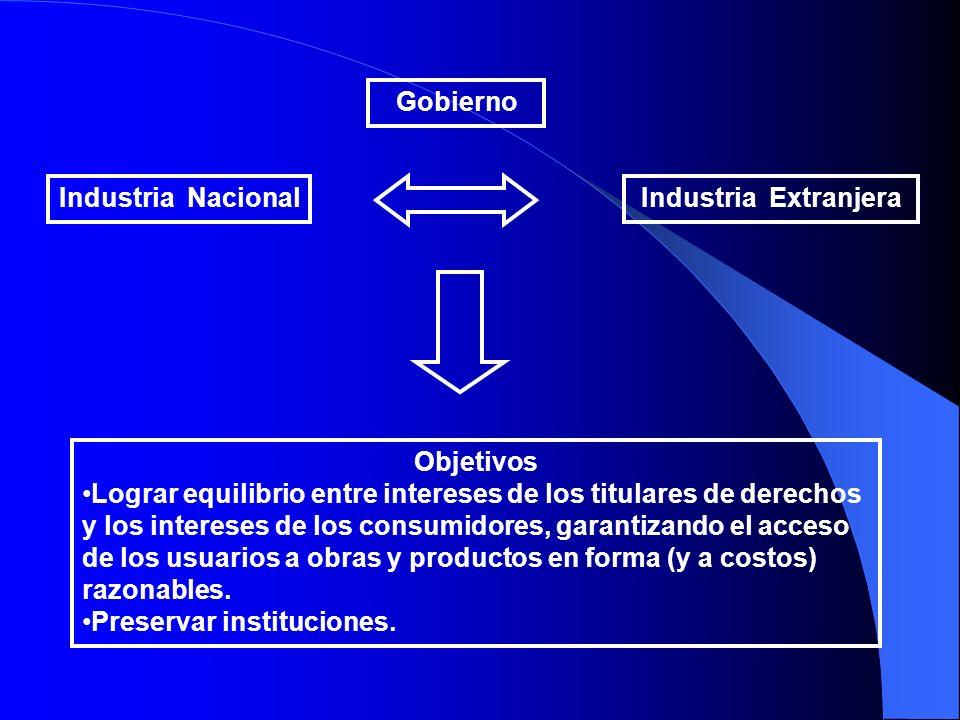 Industria NacionalIndustria Extranjera Gobierno Objetivos Lograr equilibrio entre intereses de los titulares de derechos y los intereses de los consum