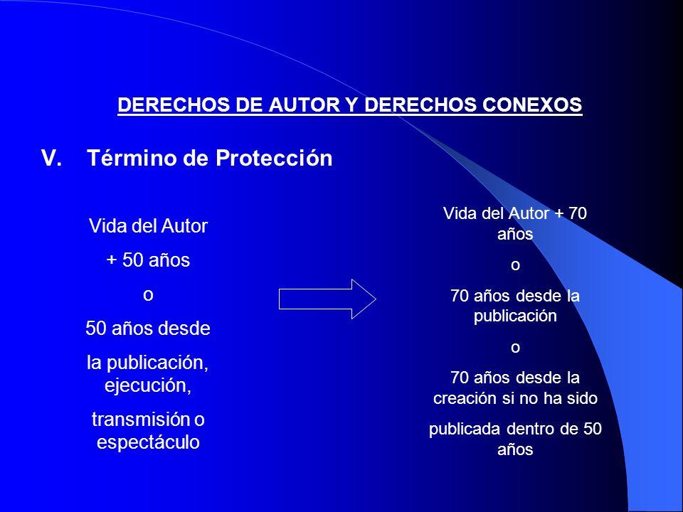 DERECHOS DE AUTOR Y DERECHOS CONEXOS V.Término de Protección Vida del Autor + 50 años o 50 años desde la publicación, ejecución, transmisión o espectá