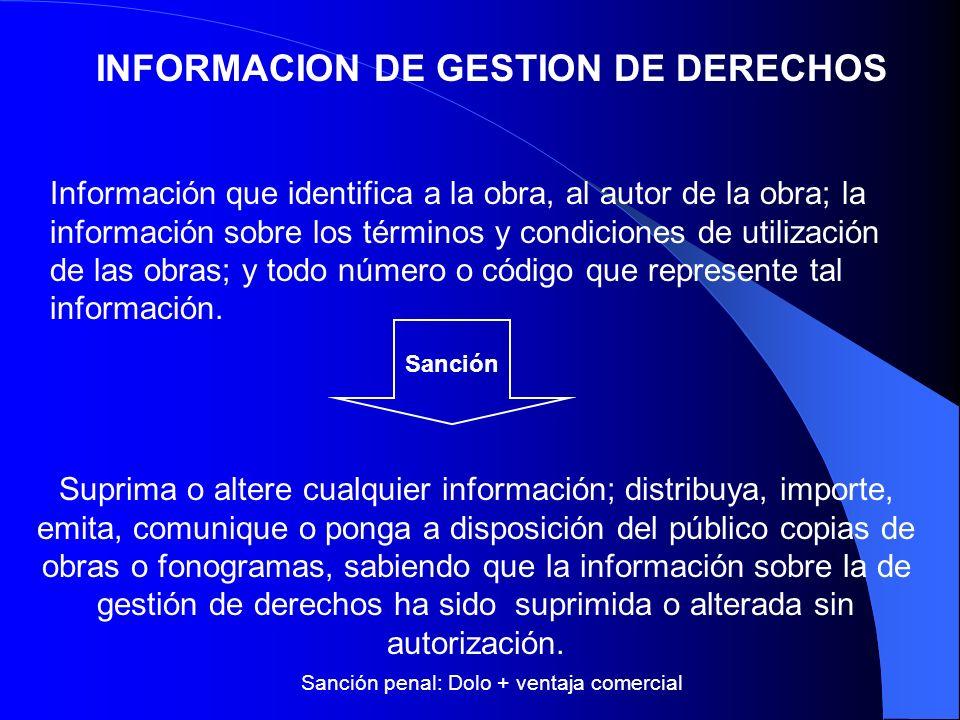 INFORMACION DE GESTION DE DERECHOS Suprima o altere cualquier información; distribuya, importe, emita, comunique o ponga a disposición del público cop