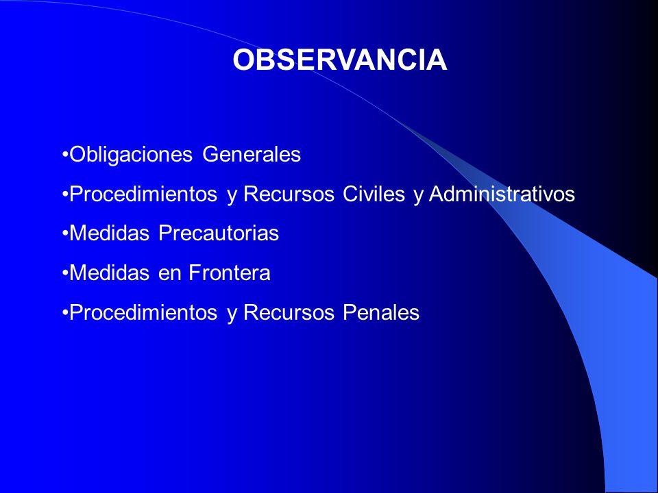 OBSERVANCIA Obligaciones Generales Procedimientos y Recursos Civiles y Administrativos Medidas Precautorias Medidas en Frontera Procedimientos y Recur
