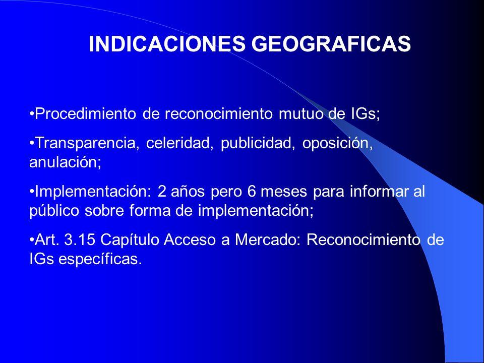 INDICACIONES GEOGRAFICAS Procedimiento de reconocimiento mutuo de IGs; Transparencia, celeridad, publicidad, oposición, anulación; Implementación: 2 a