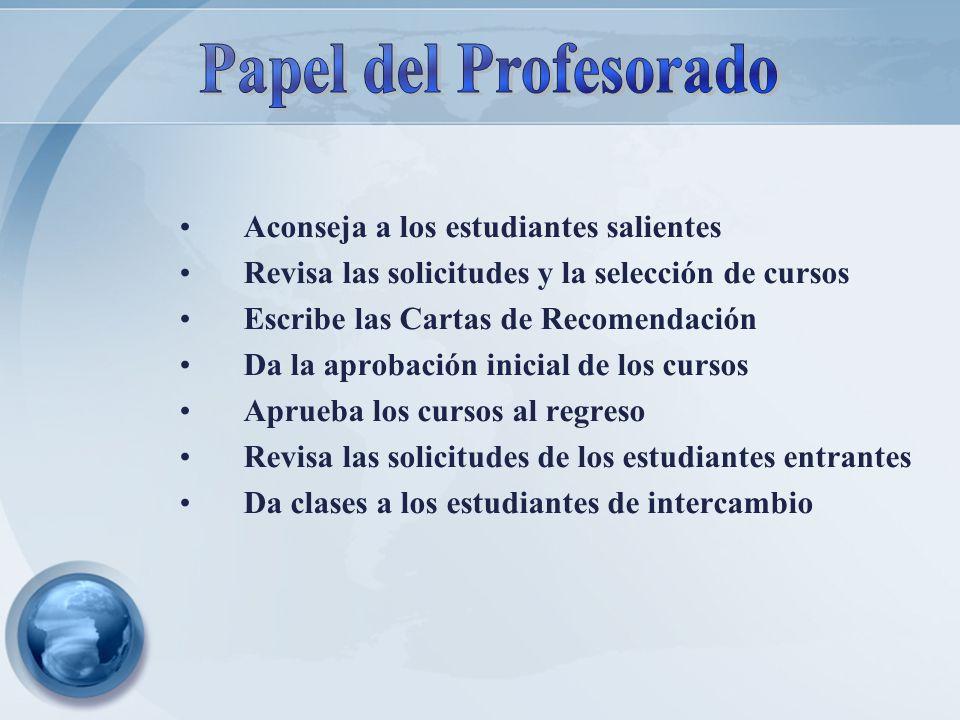 Aconseja a los estudiantes salientes Revisa las solicitudes y la selección de cursos Escribe las Cartas de Recomendación Da la aprobación inicial de l