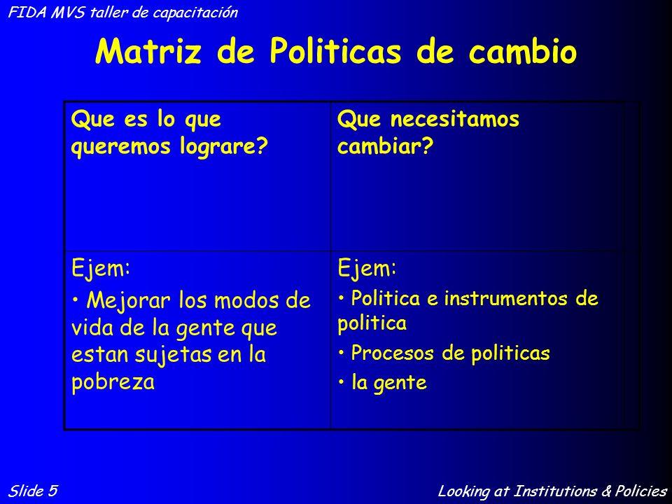 Matriz de Politicas de cambio Slide 5 FIDA MVS taller de capacitación Looking at Institutions & Policies Que es lo que queremos lograre? Que necesitam