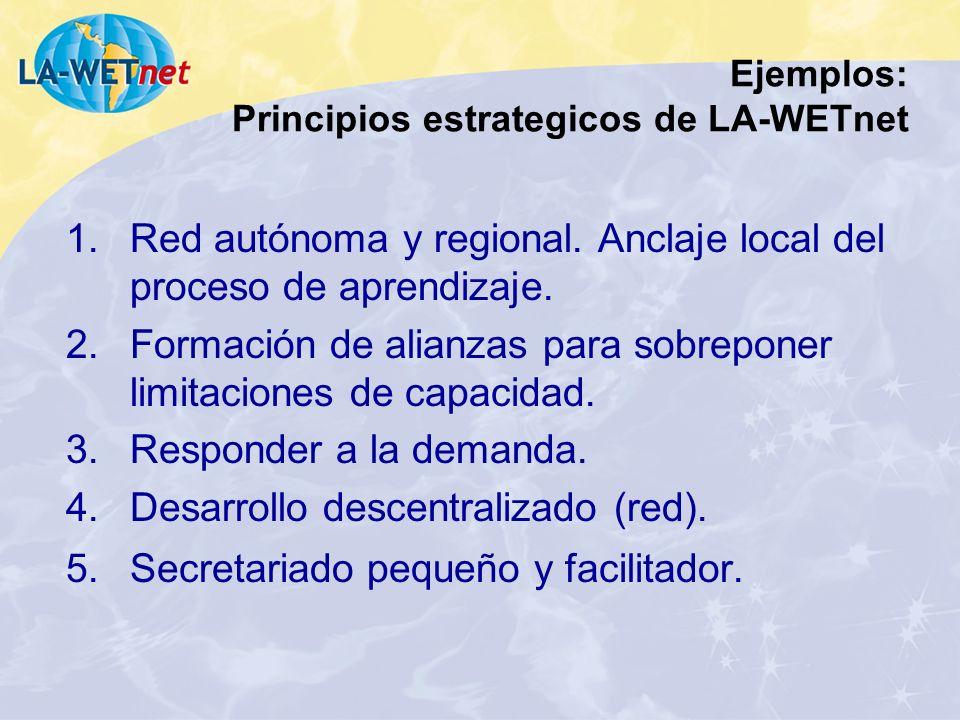 Ejemplos: Principios estrategicos de LA-WETnet 1.Red autónoma y regional. Anclaje local del proceso de aprendizaje. 2.Formación de alianzas para sobre