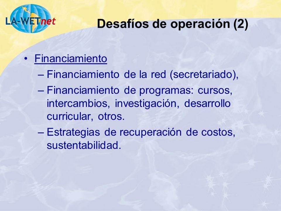 Financiamiento –Financiamiento de la red (secretariado), –Financiamiento de programas: cursos, intercambios, investigación, desarrollo curricular, otr