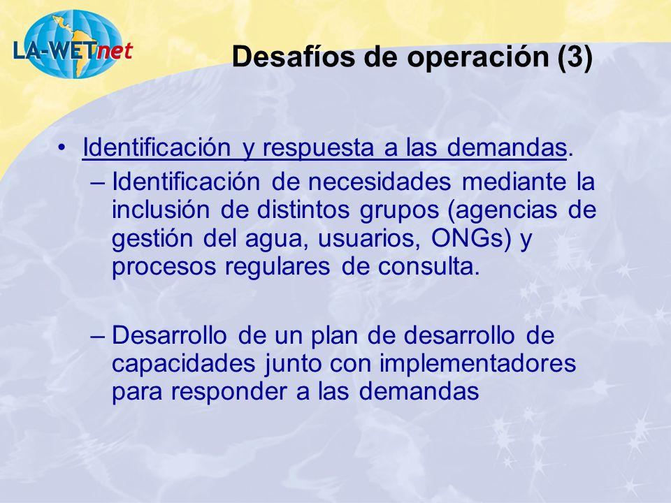 Identificación y respuesta a las demandas. –Identificación de necesidades mediante la inclusión de distintos grupos (agencias de gestión del agua, usu