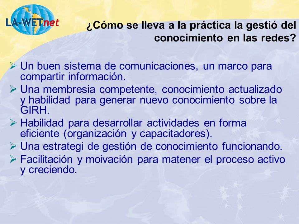 ¿Cómo se lleva a la práctica la gestió del conocimiento en las redes? Un buen sistema de comunicaciones, un marco para compartir información. Una memb