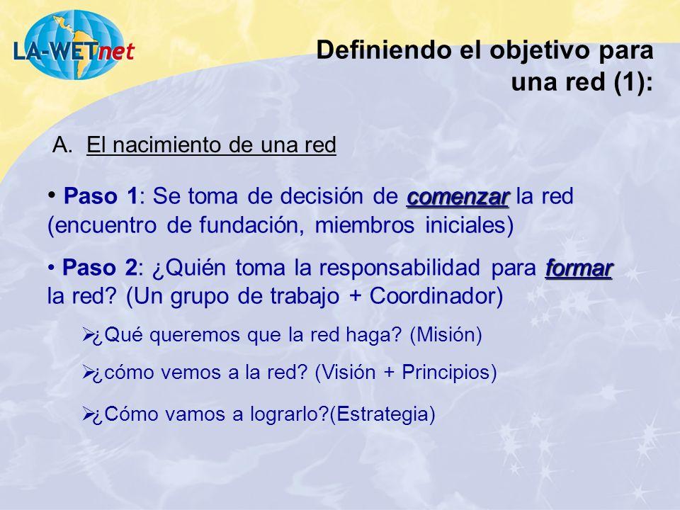 Definiendo el objetivo para una red (1): comenzar Paso 1: Se toma de decisión de comenzar la red (encuentro de fundación, miembros iniciales) formar P