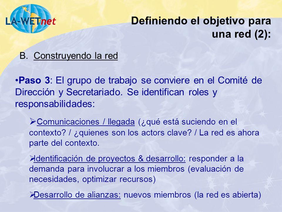 Paso 3: El grupo de trabajo se conviere en el Comité de Dirección y Secretariado. Se identifican roles y responsabilidades: Comunicaciones / llegada (