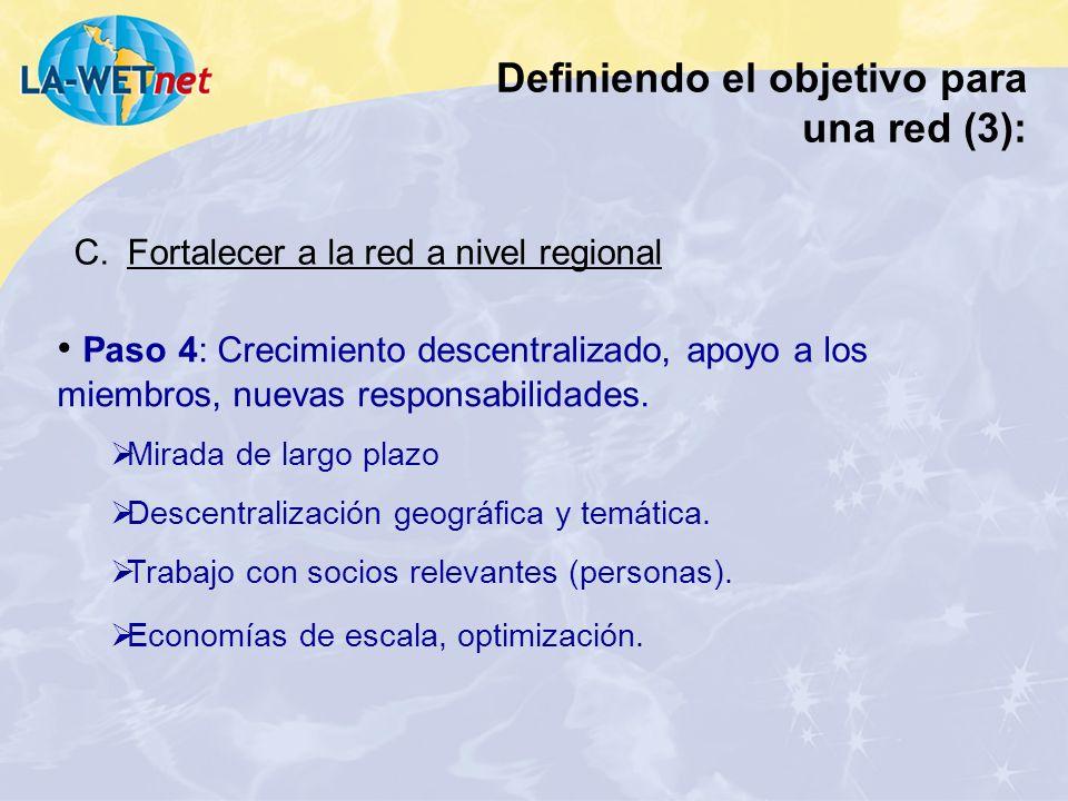 Paso 4: Crecimiento descentralizado, apoyo a los miembros, nuevas responsabilidades. Mirada de largo plazo Descentralización geográfica y temática. Tr