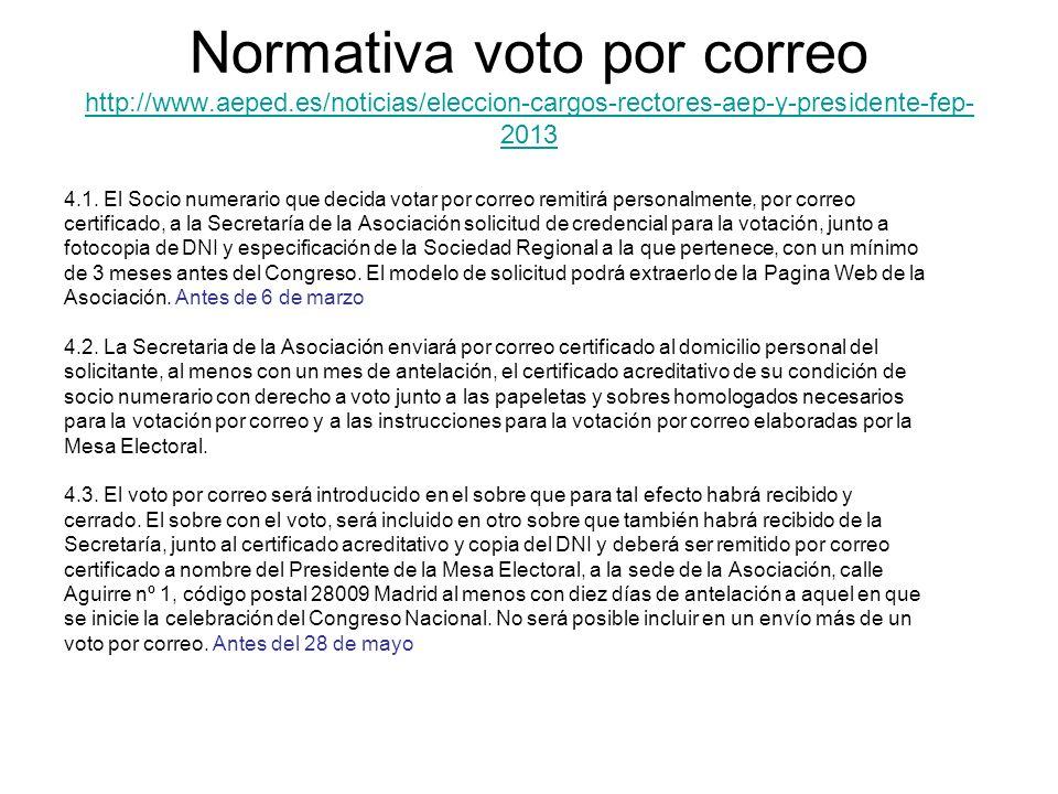 Normativa voto por correo http://www.aeped.es/noticias/eleccion-cargos-rectores-aep-y-presidente-fep- 2013 http://www.aeped.es/noticias/eleccion-cargo