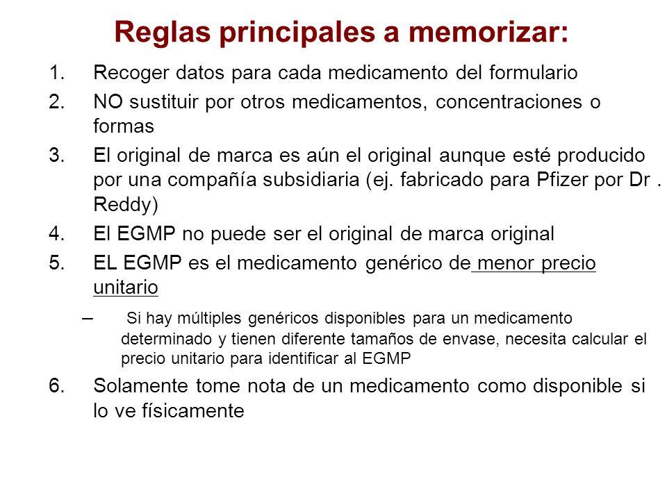 1.Recoger datos para cada medicamento del formulario 2.NO sustituir por otros medicamentos, concentraciones o formas 3.El original de marca es aún el