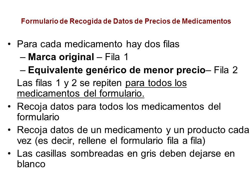 Formulario de Recogida de Datos de Precios de Medicamentos Para cada medicamento hay dos filas –Marca original – Fila 1 –Equivalente genérico de menor