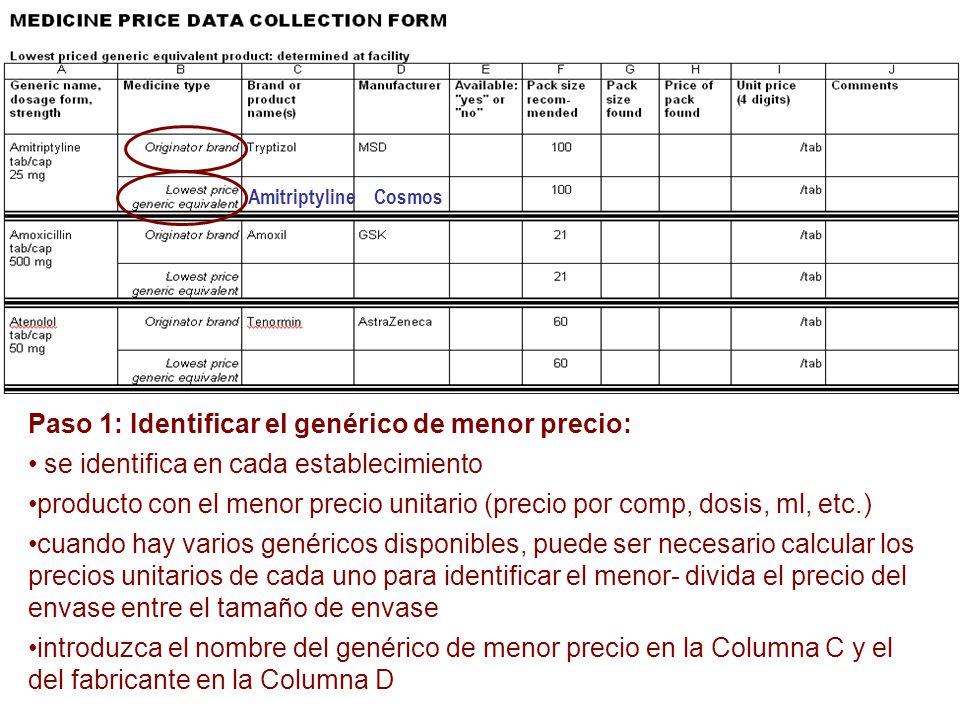 Paso 1: Identificar el genérico de menor precio: se identifica en cada establecimiento producto con el menor precio unitario (precio por comp, dosis,