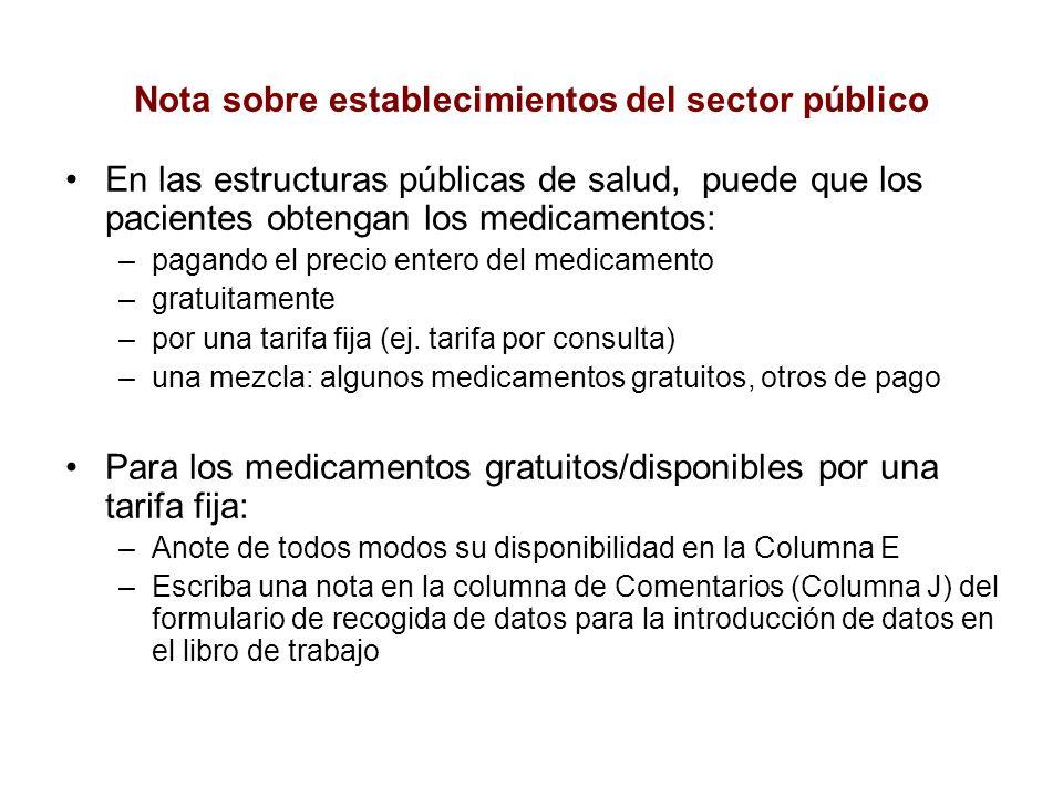 Nota sobre establecimientos del sector público En las estructuras públicas de salud, puede que los pacientes obtengan los medicamentos: –pagando el pr