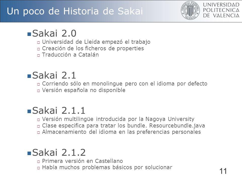 11 Un poco de Historia de Sakai Sakai 2.0 Universidad de Lleida empezó el trabajo Creación de los ficheros de properties Traducción a Catalán Sakai 2.