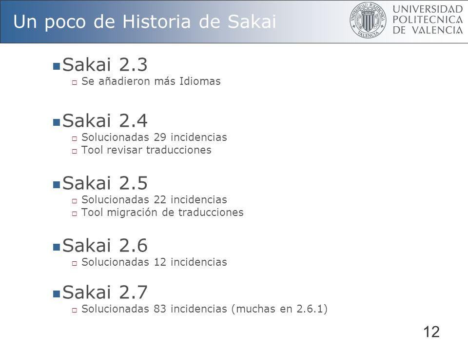 12 Un poco de Historia de Sakai Sakai 2.3 Se añadieron más Idiomas Sakai 2.4 Solucionadas 29 incidencias Tool revisar traducciones Sakai 2.5 Soluciona