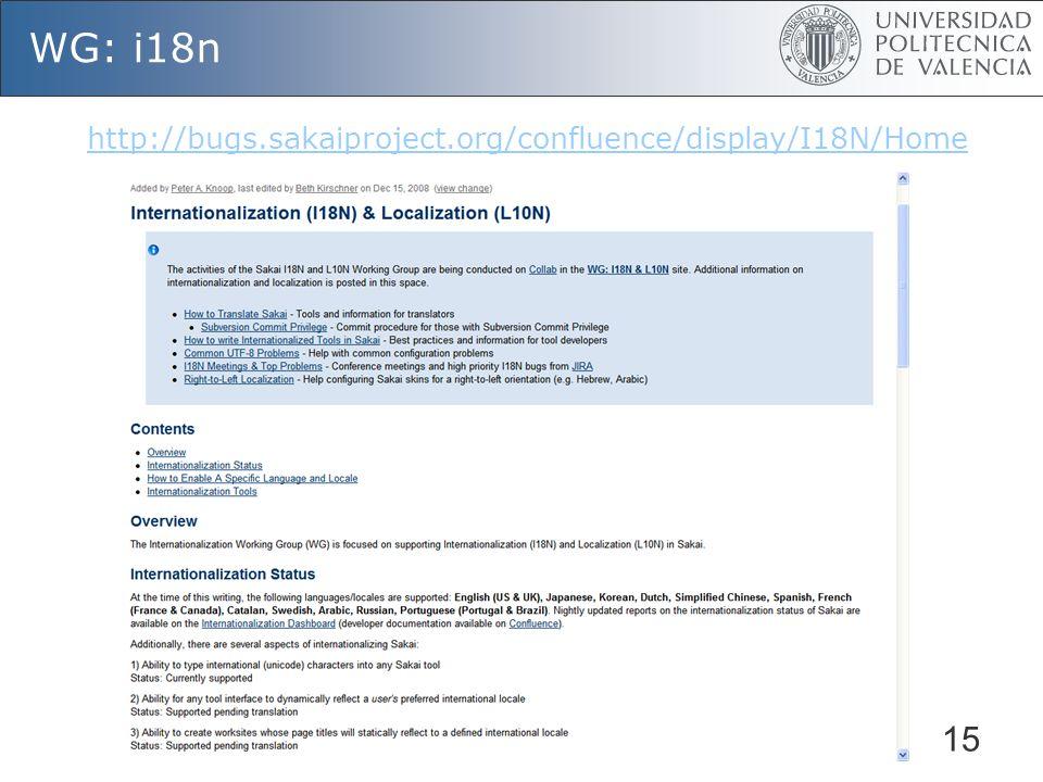 15 WG: i18n http://bugs.sakaiproject.org/confluence/display/I18N/Home