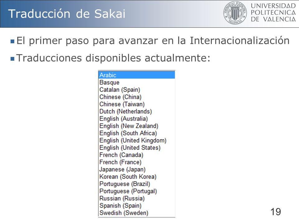 19 Traducción de Sakai El primer paso para avanzar en la Internacionalización Traducciones disponibles actualmente: