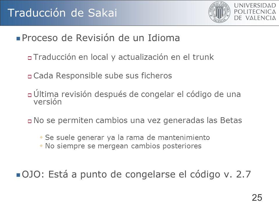 25 Traducción de Sakai Proceso de Revisión de un Idioma Traducción en local y actualización en el trunk Cada Responsible sube sus ficheros Última revi