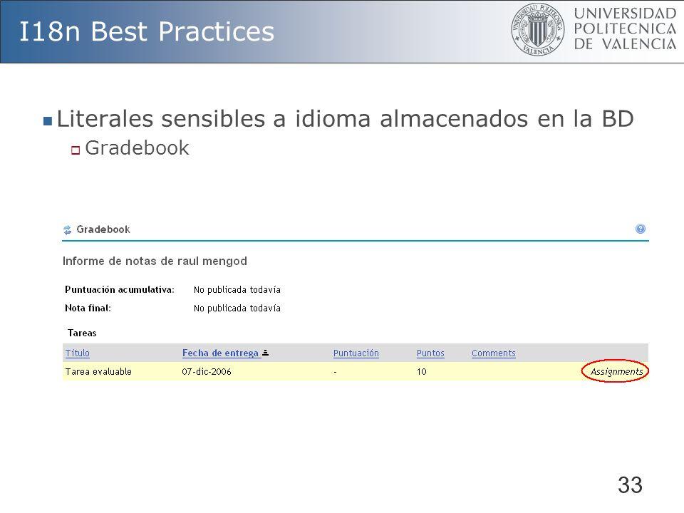 33 I18n Best Practices Literales sensibles a idioma almacenados en la BD Gradebook GB_GRADABLE_OBJECT_T.EXTERNAL_APP_NAME