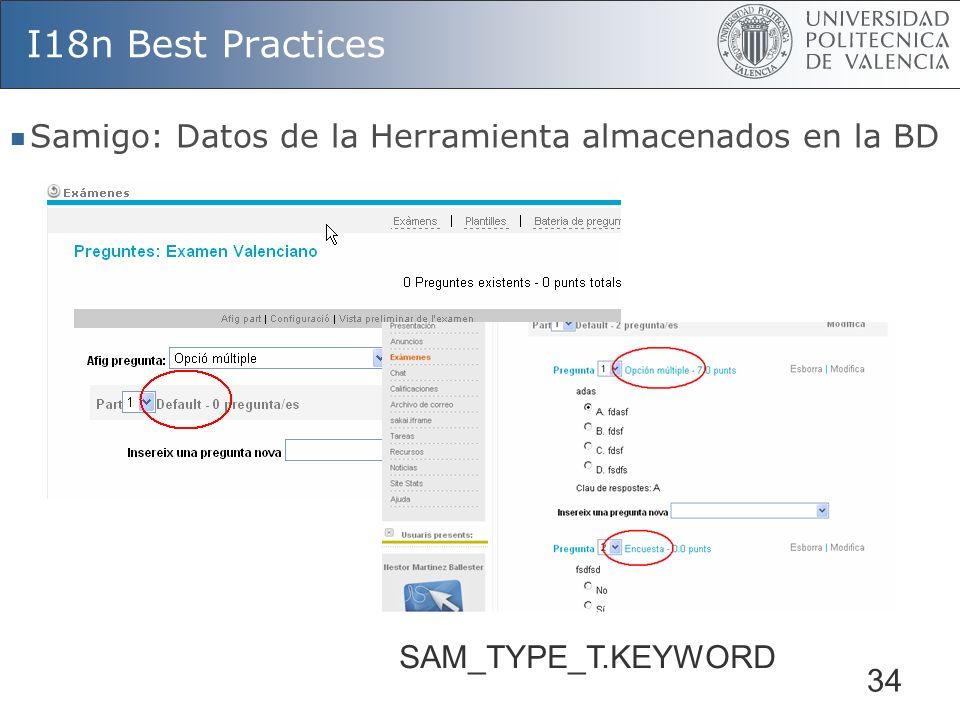 34 I18n Best Practices Samigo: Datos de la Herramienta almacenados en la BD SAM_TYPE_T.KEYWORD