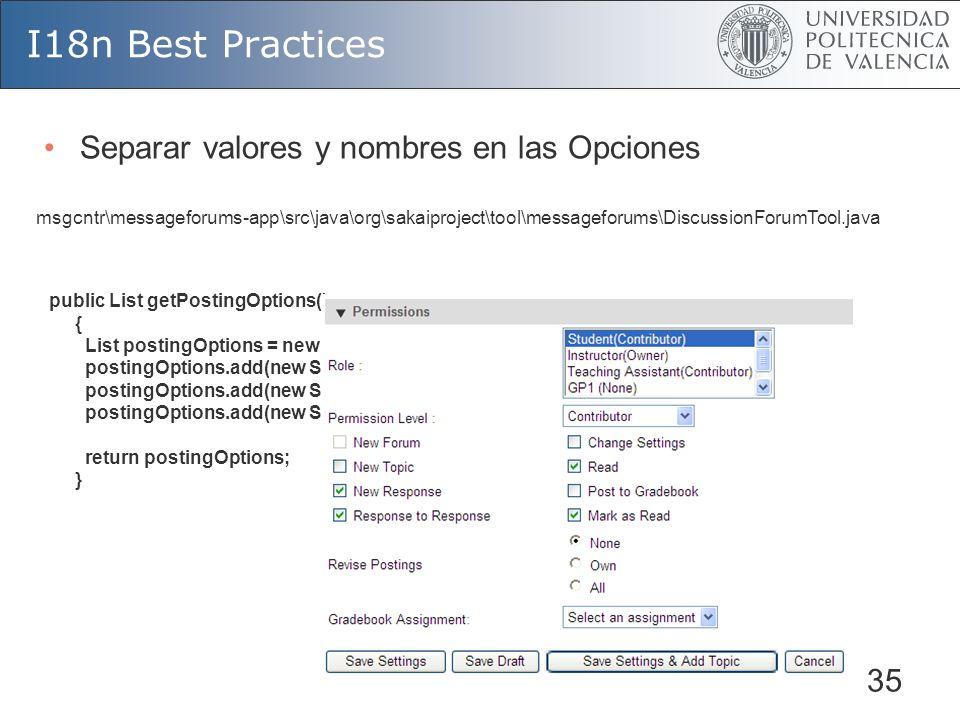 35 I18n Best Practices public List getPostingOptions() { List postingOptions = new ArrayList(); postingOptions.add(new SelectItem(PermissionBean.NONE,