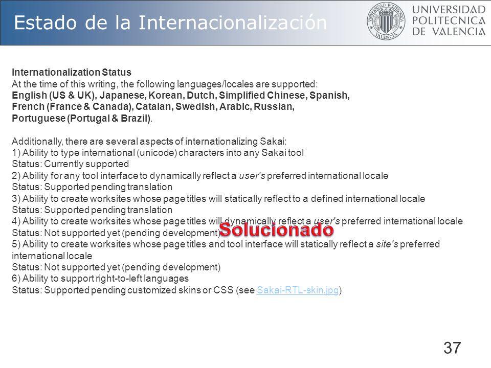 37 Estado de la Internacionalización Internationalization Status At the time of this writing, the following languages/locales are supported: English (