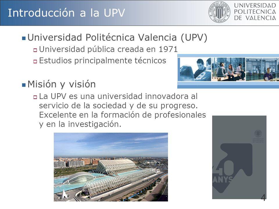 Introducción a la UPV Centros Docentes 15 Departamentos 44 Titulaciones 1 er Ciclo 31 Titulaciones de 2º Ciclo 12 Titulaciones 1 er y 2º Ciclo 13 Alumnos de 1 er y 2º Ciclo 36.525 Programas de Doctorado 66 Alumnos de 3 er Ciclo 1933 P.