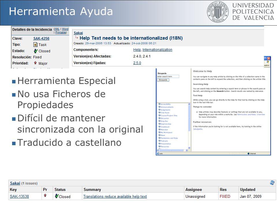 55 Herramienta Ayuda Herramienta Especial No usa Ficheros de Propiedades Difícil de mantener sincronizada con la original Traducido a castellano