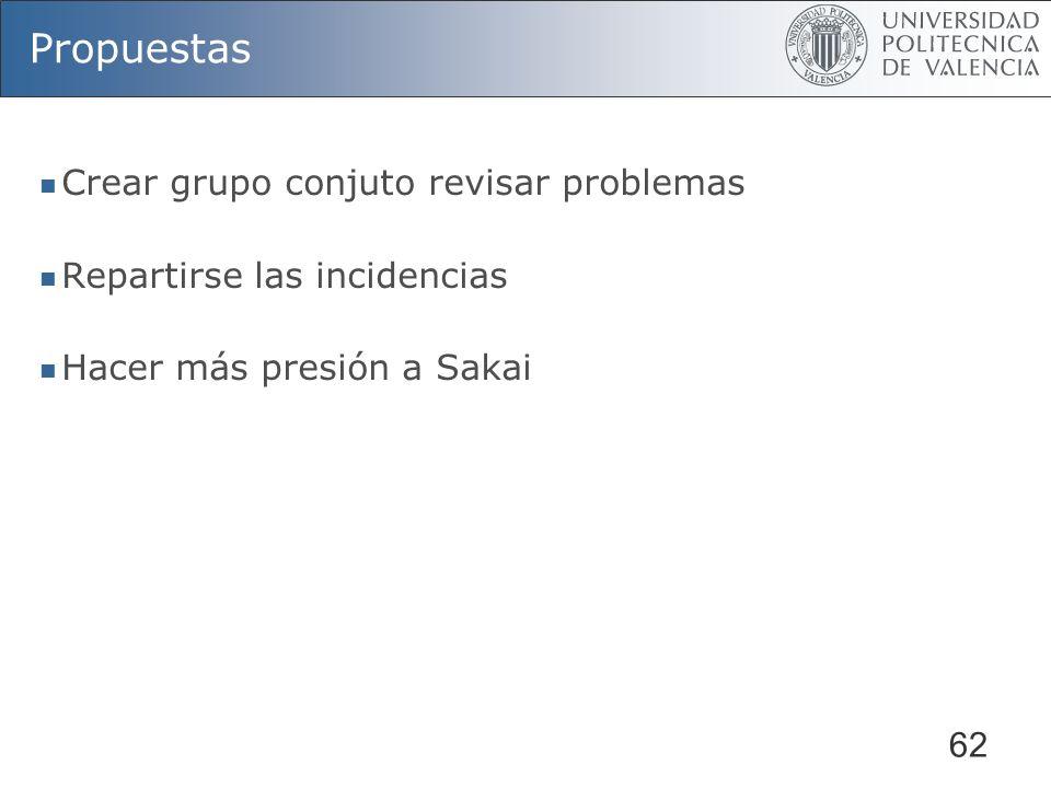 62 Propuestas Crear grupo conjuto revisar problemas Repartirse las incidencias Hacer más presión a Sakai