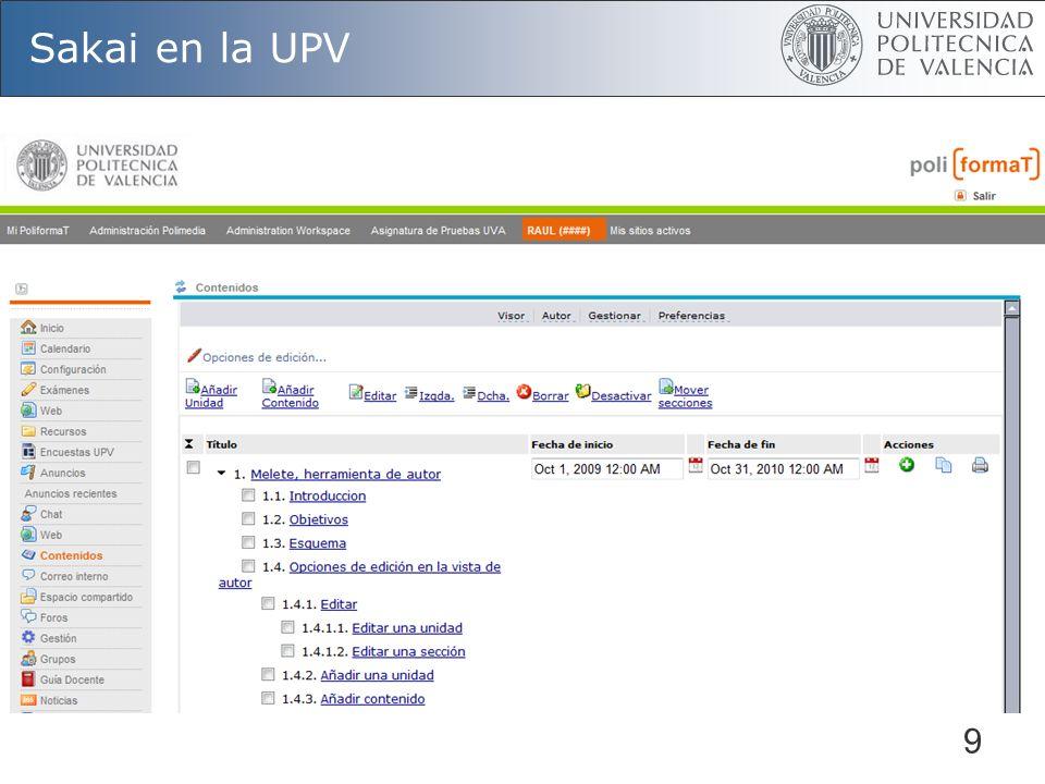 9 Sakai en la UPV