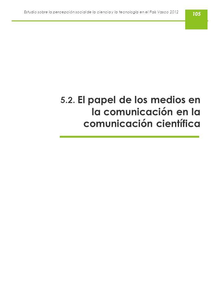 Estudio sobre la percepción social de la ciencia y la tecnología en el País Vasco 2012 5.2. El papel de los medios en la comunicación en la comunicaci