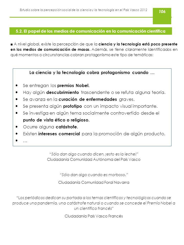 Estudio sobre la percepción social de la ciencia y la tecnología en el País Vasco 2012 A nivel global, existe la percepción de que la ciencia y la tec