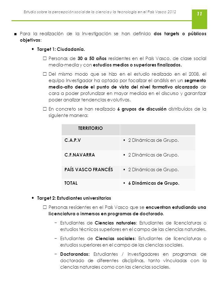 Estudio sobre la percepción social de la ciencia y la tecnología en el País Vasco 2012 11 Para la realización de la investigación se han definido dos