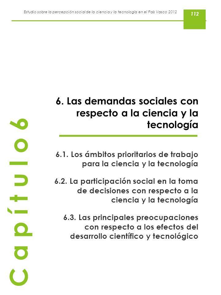 Estudio sobre la percepción social de la ciencia y la tecnología en el País Vasco 2012 6. Las demandas sociales con respecto a la ciencia y la tecnolo