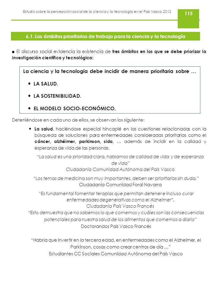 Estudio sobre la percepción social de la ciencia y la tecnología en el País Vasco 2012 El discurso social evidencia la existencia de tres ámbitos en l