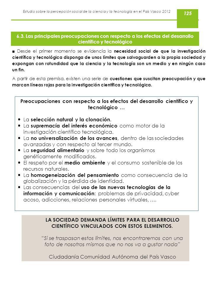 Estudio sobre la percepción social de la ciencia y la tecnología en el País Vasco 2012 Desde el primer momento se evidencia la necesidad social de que