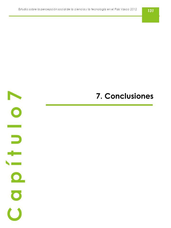 Estudio sobre la percepción social de la ciencia y la tecnología en el País Vasco 2012 7. Conclusiones C a p í t u l o 7 131