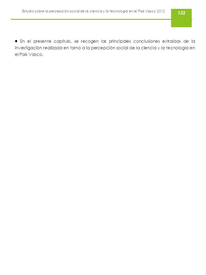 Estudio sobre la percepción social de la ciencia y la tecnología en el País Vasco 2012 En el presente capítulo, se recogen las principales conclusione