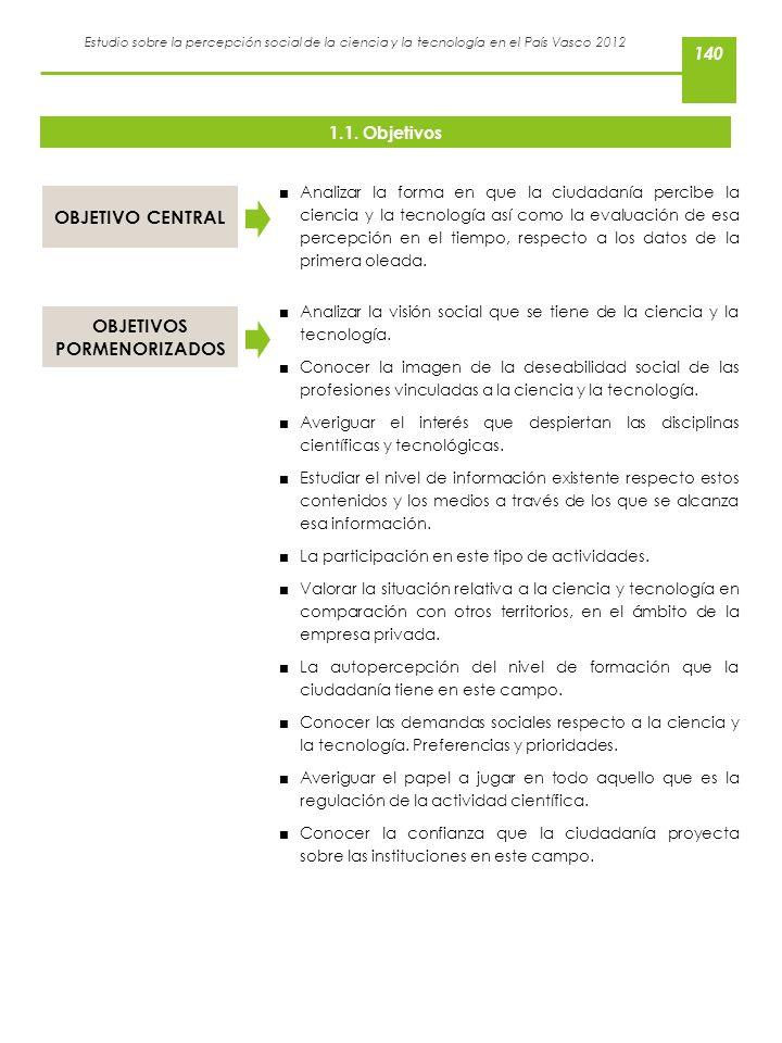 Estudio sobre la percepción social de la ciencia y la tecnología en el País Vasco 2012 1.1. Objetivos Analizar la forma en que la ciudadanía percibe l