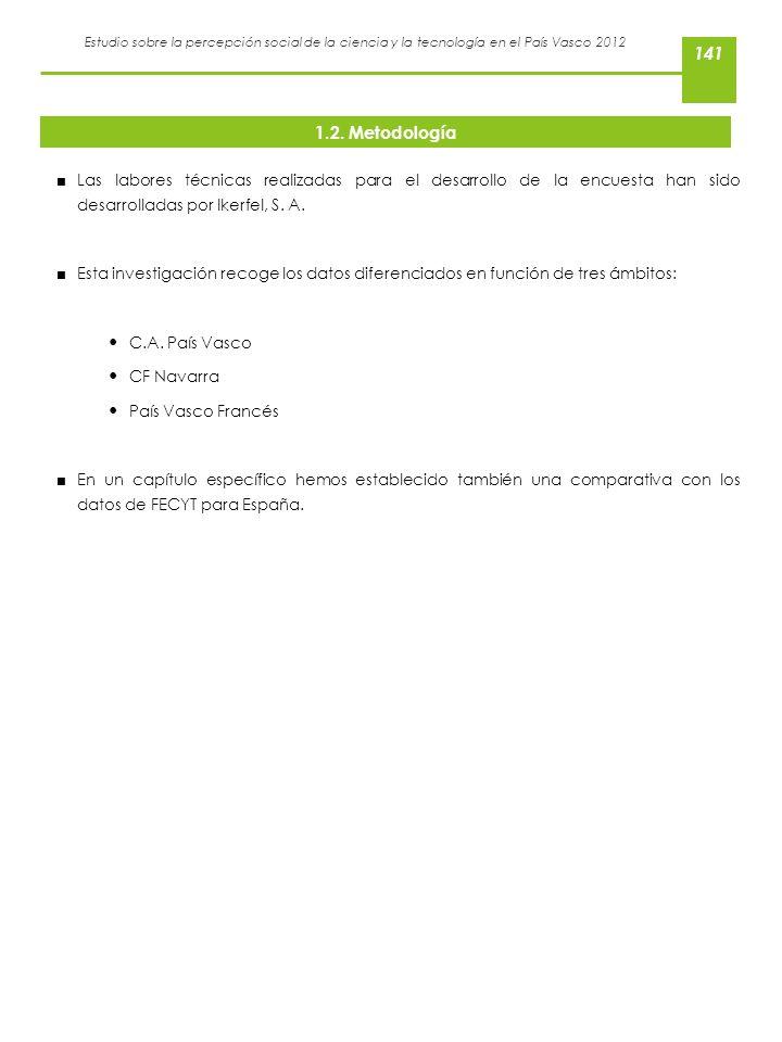 Estudio sobre la percepción social de la ciencia y la tecnología en el País Vasco 2012 1.2. Metodología Las labores técnicas realizadas para el desarr