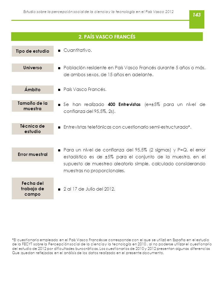 Estudio sobre la percepción social de la ciencia y la tecnología en el País Vasco 2012 2. PAÍS VASCO FRANCÉS Cuantitativo. Tipo de estudio Universo Pa