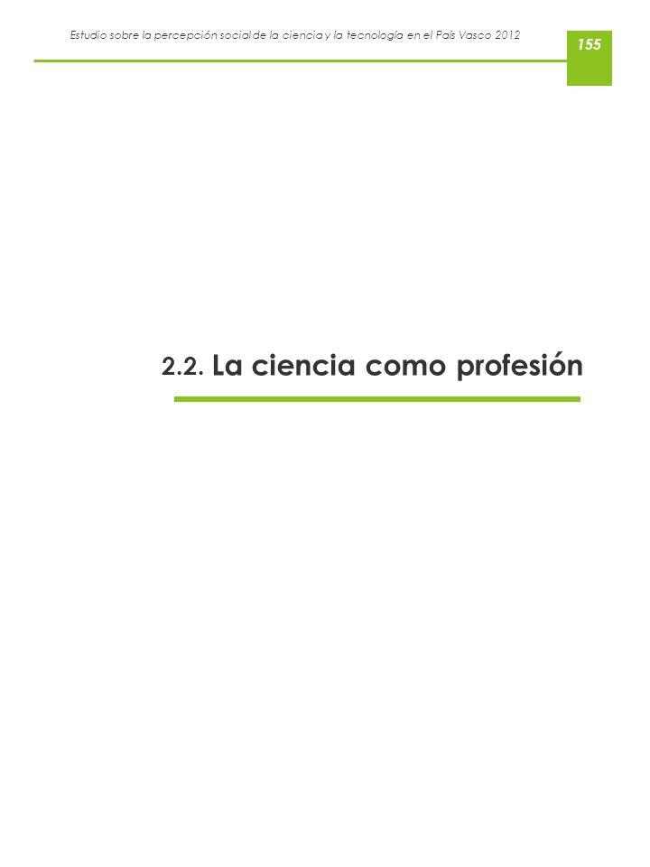 Estudio sobre la percepción social de la ciencia y la tecnología en el País Vasco 2012 2.2. La ciencia como profesión 155